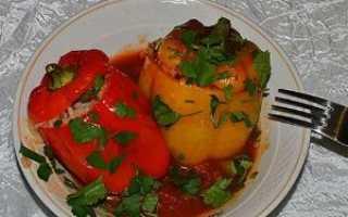Фаршированный перец с рыбой и рисом